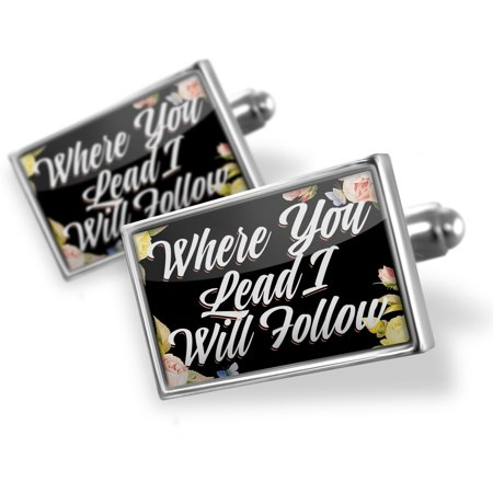 Cufflinks Floral Border Where You Lead I Will Follow - NEONBLOND