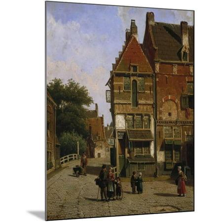 A Dutch Street Scene Wood Mounted Print Wall Art By Willem Koekkoek
