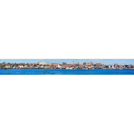Panoramic view of Portland Harbor boats with south Portland skyline Portland Maine Poster Print by Panoramic (Maine Mall South Portland)