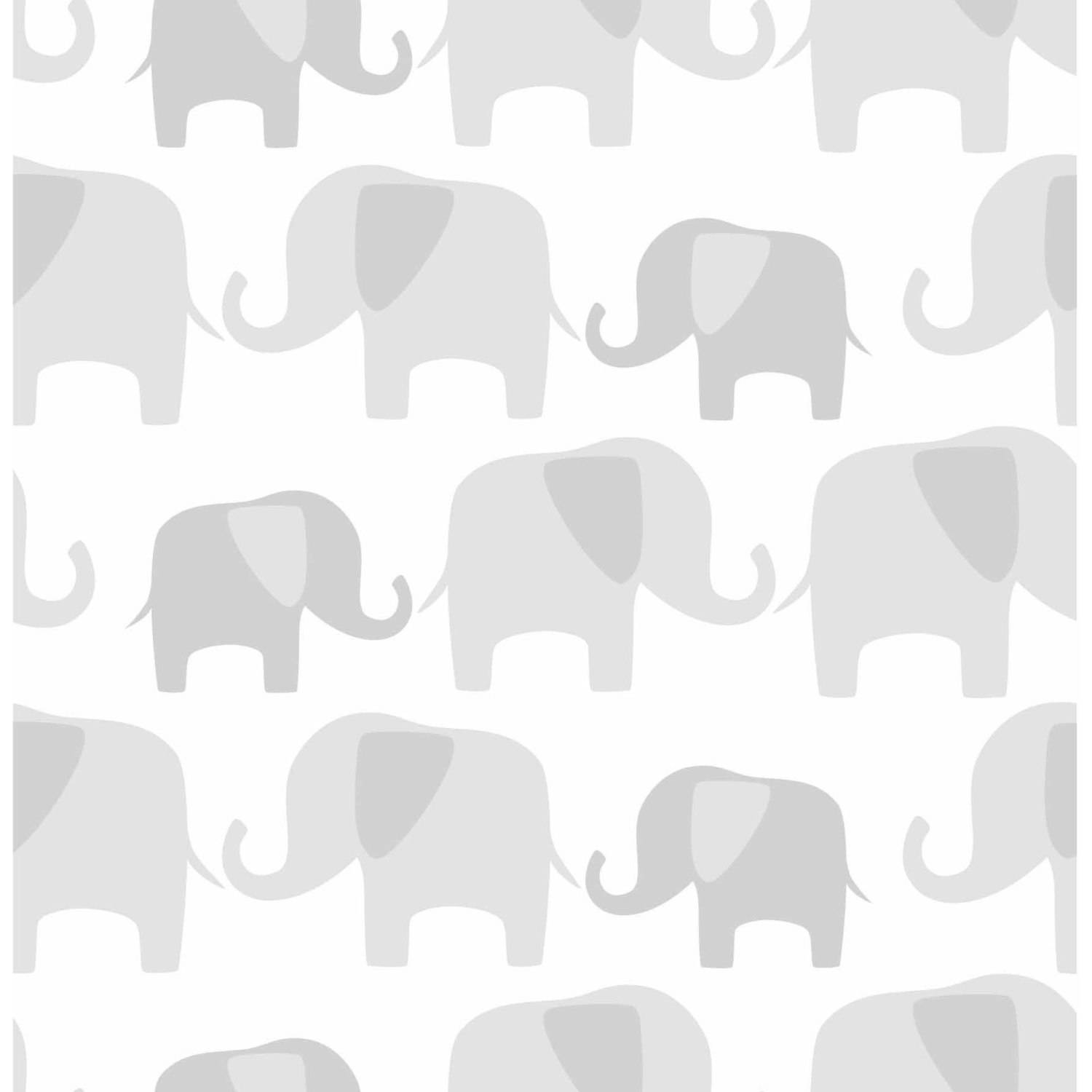 NuWallpaper Gray Elephant Parade Peel and Stick Wallpaper by Brewster