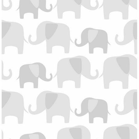 Nuwallpaper gray elephant parade peel and stick wallpaper for Peel and stick wallpaper walmart