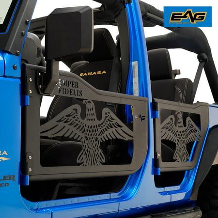 EAG Rock Crawler USMC Tubular Door with Side Mirror for 07-18 Jeep JK Wrangler