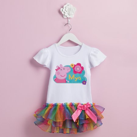 Peppa Pig Flower Personalized Rainbow Toddler Girl Tutu Tee - 2T, 3T, 4T, (Personalized Pig)