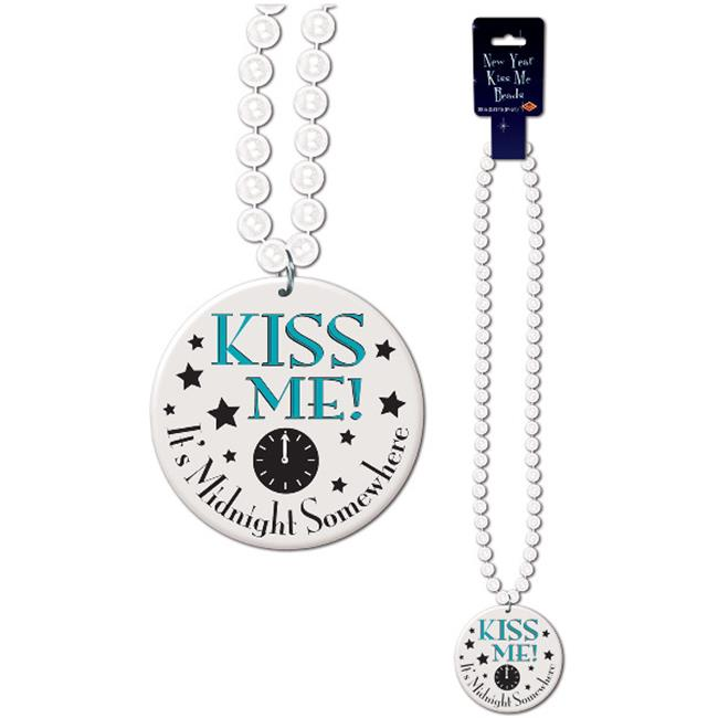 DDI 1277277 Beads with Printed Kiss Me Its Midnight Somewhere Medallion  Case of 48