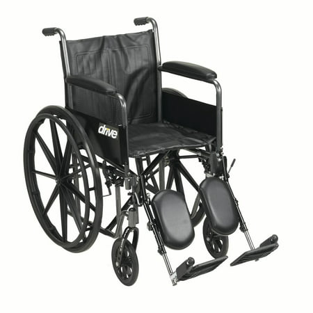 "Drive Medical Silver Sport 2 Wheelchair, Detachable Full Arms, Elevating Leg Rests, 16"" Seat"