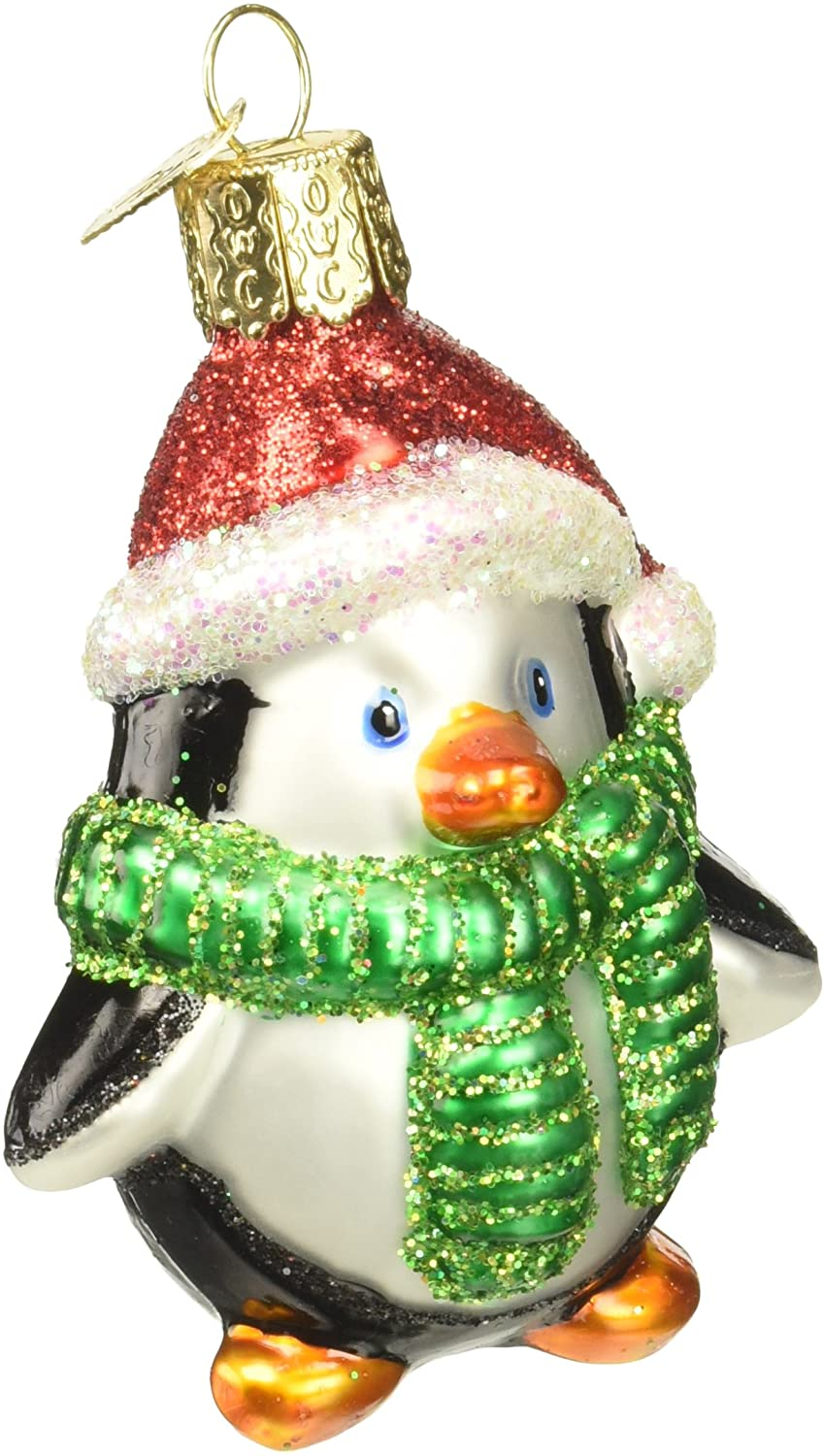 Penguin Hand Blown Glass holiday Ornament Green