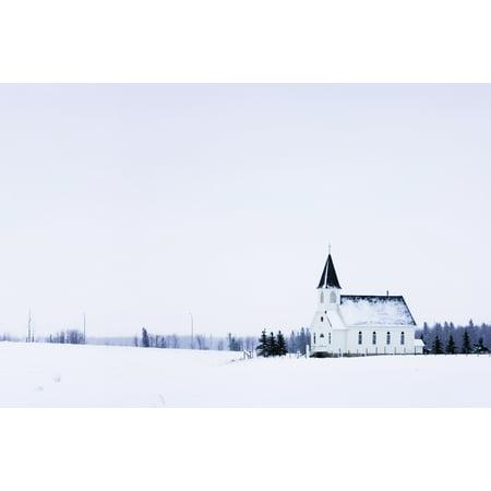Old Fashioned Steeple Church In Winter Canvas Art - Corey Hochachka  Design Pics (17 x 11) - Old Fashioned Halloween Pics