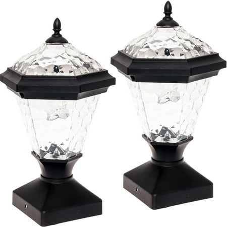 (2 Pack GreenLighting Adonia Solar Post Cap Light for 4 x 4 Nominal Wood Posts)