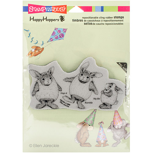 "Stampendous HappyHopper Cling Rubber Stamp 5.5"" x 4.5"" Sheet, Easter Hares"