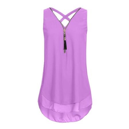 Organic Cross Back Tank - Tuscom Women Loose Sleeveless Tank Top Cross Back Hem Layed Zipper V-Neck T Shirts Tops
