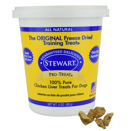 - Stewart Freeze Dried Chicken Liver Dog Treats by Pro-Treat, 3 oz. Tub