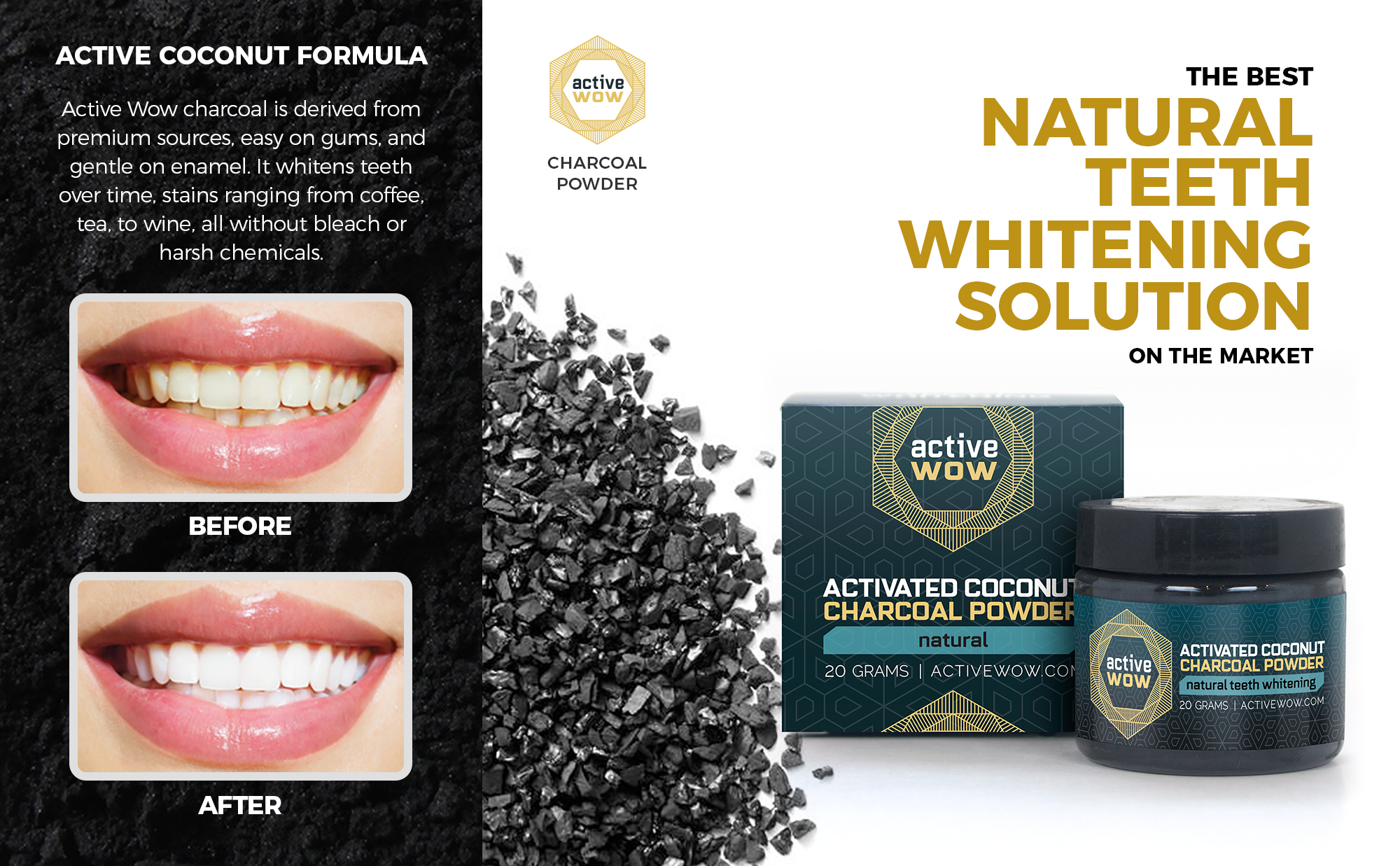 Active Wow Natural Charcoal Teeth Whitening Walmart Com