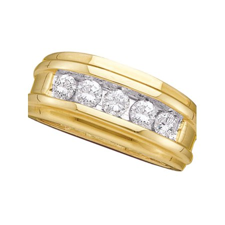 14k Mens Diamond Rings - 14kt Yellow Gold Mens Round Diamond Single Row Ridged Wedding Band Ring 1.00 Cttw