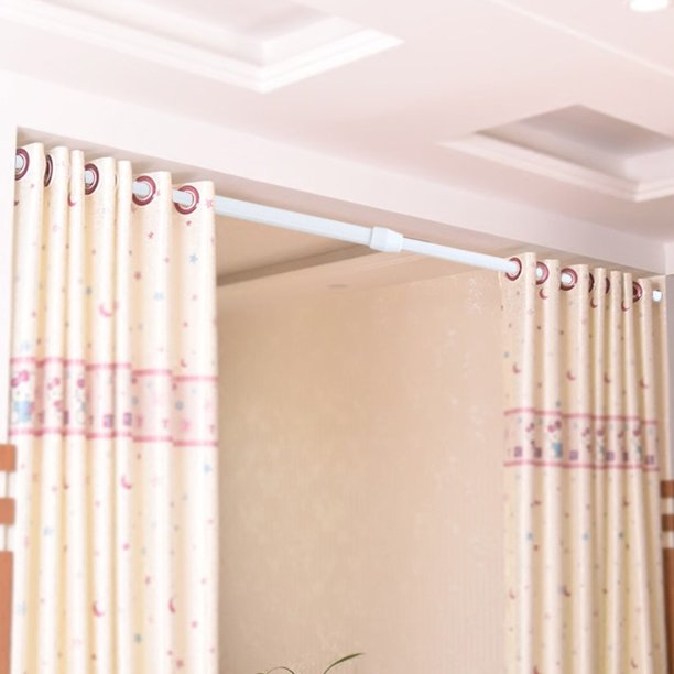 Dilwe Adjustable Spring Loaded Tension, Closet Curtain Rod