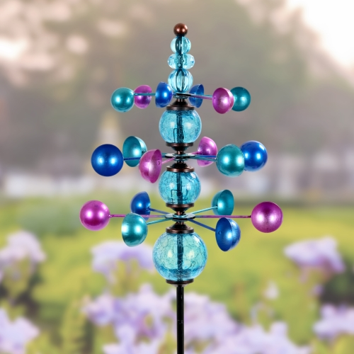 Exhart 3 Tier Wind Spinner with Glass Crackle Balls, Hand Painted Metal Garden Stake in Blue, 14 by 48 Inches