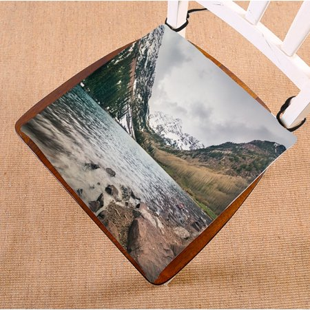 PHFZK Beautiful Mountain and Lake View Chair Pad, Winter Landscape of Colorado at Maroon Bells Seat Cushion Chair Cushion Floor Cushion Two Sides Size 16x16 inches