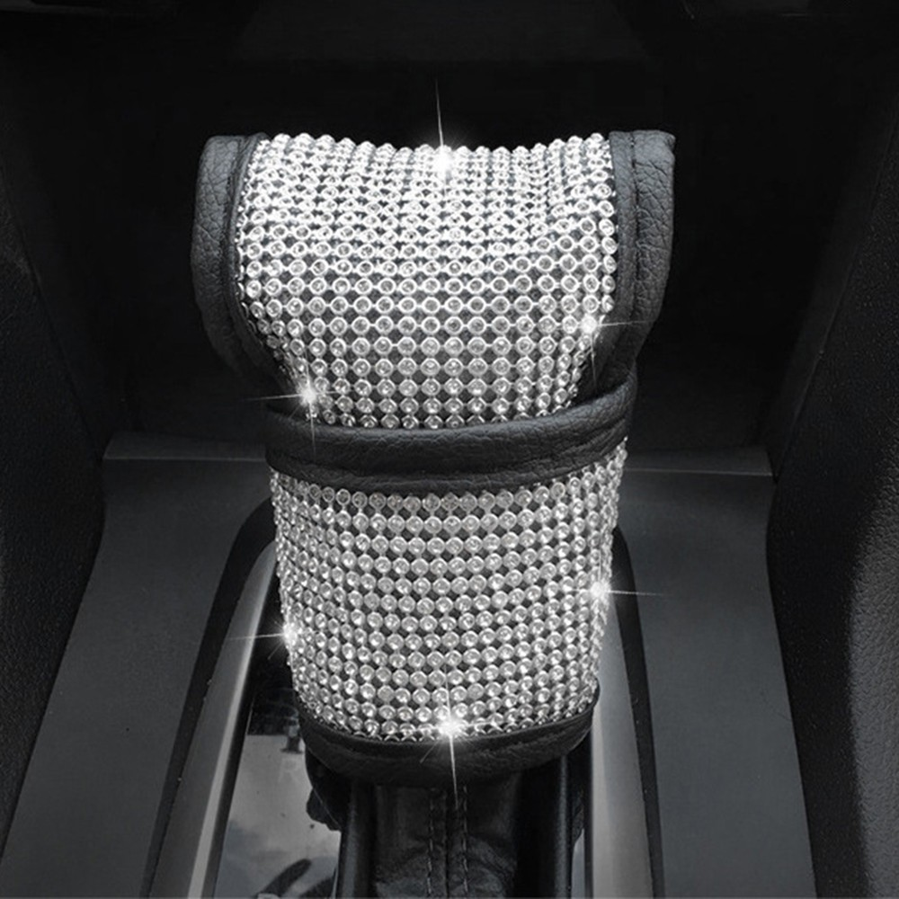 Include Car Gear Shift Cover,Car Seat Belt Covers,Car Sticker Ring Emblem for Women Girls 7 Pieces Bling Crystal Diamond Car Accessories Set
