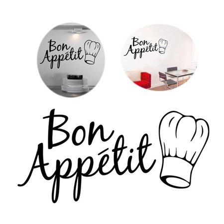 Restaurant Decor - Bon Appetit Wall Stickers Room Decor DIY Art Decals for Kitchen Living Room Cafes Restaurant