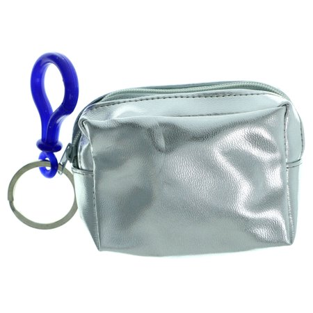 Metallic Silver Colored Change Purse Keychain With Blue Plastic Clip