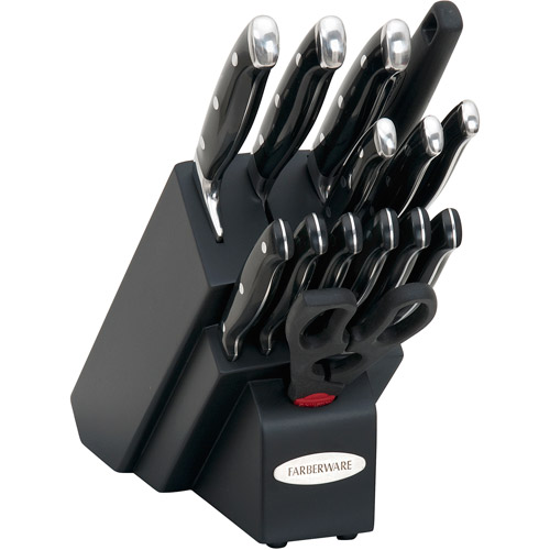 Farberware 15-Piece Forged Cutlery Set, Black