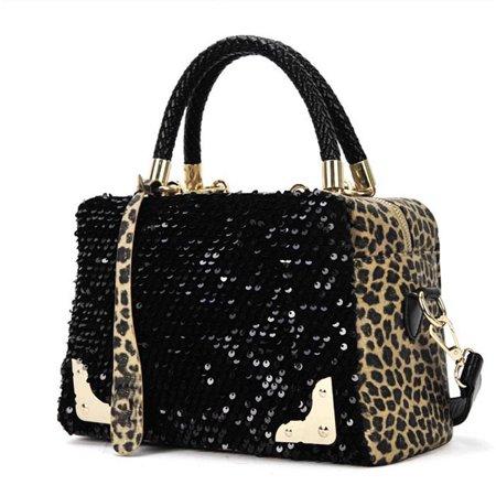Women Sequin Leopard Messenger Cross Shoulder Bag Handbag HandBag