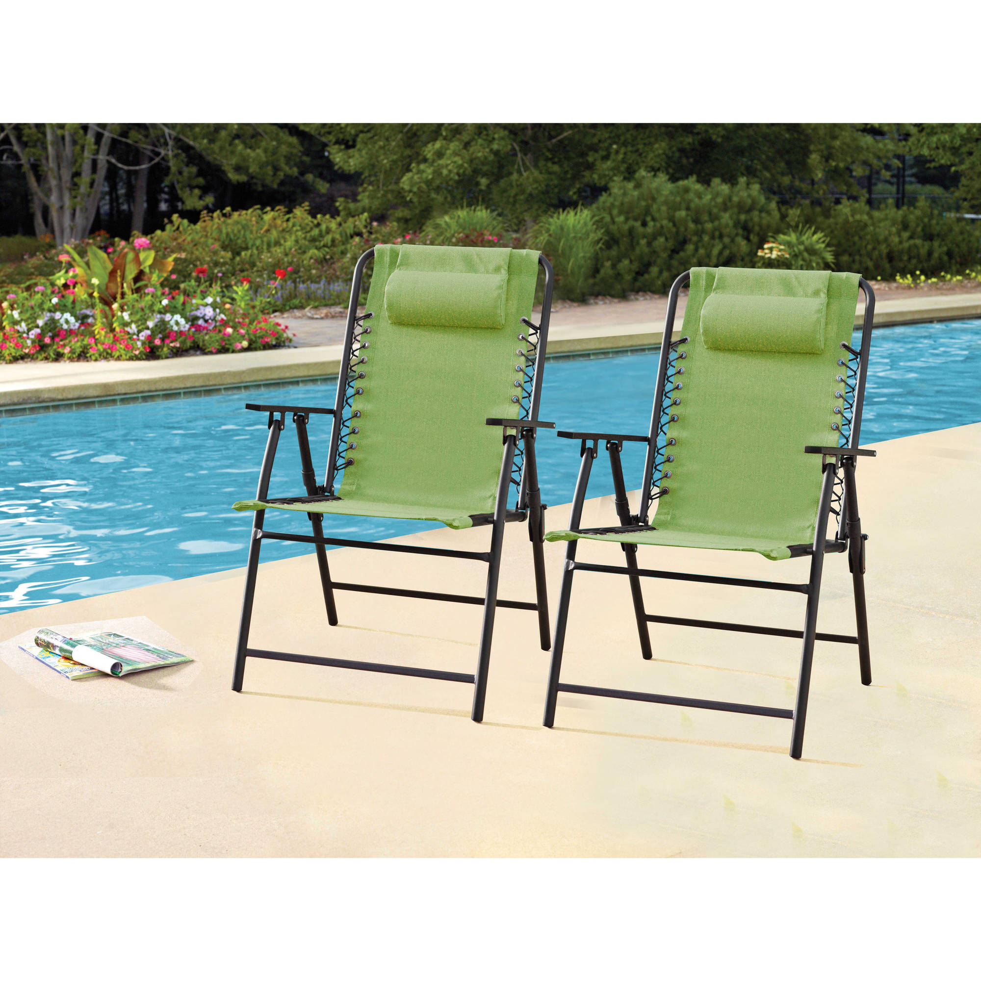 Mainstays Heritage Park Stacking Sling Chair Navy Blue Walmart