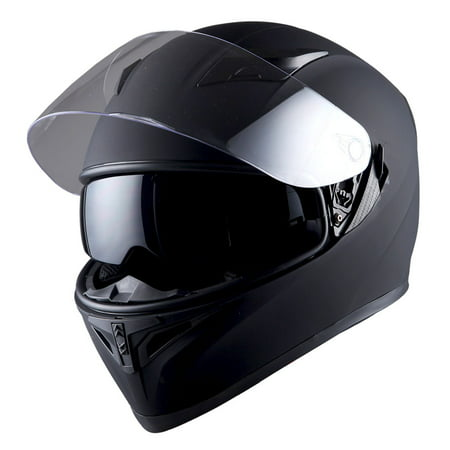 1Storm Motorcycle Full Face Helmet Street Bike Dual Visor/Sun Shield HJK316 Matt Black