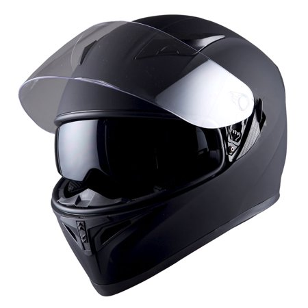 - 1Storm Motorcycle Full Face Helmet Street Bike Dual Visor/Sun Shield HJK316 Matt Black