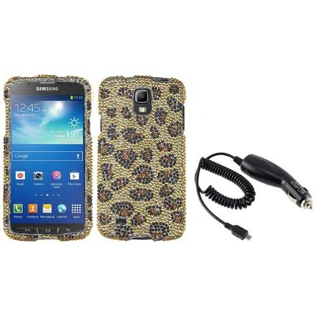 Insten Camel Leopard Diamond Case+DC In Car Charger For Samsung Galaxy S4 Active i537