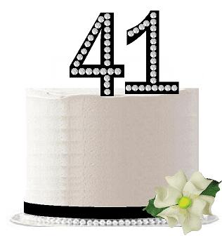 41st Birthday / Anniversary Rhinestone Bling Sparkle Cake Decoration Topper -Black