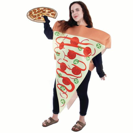 Boo! Inc. Supreme Pizza Slice Halloween Costume | Adult Unisex Funny Food Outfit - Funny Halloween Parodies