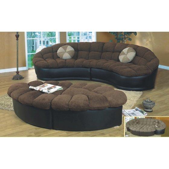 Amelia 4 Pc Dark Brown Fabric Crescent Comfy Living Room