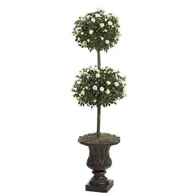 Autograph Foliages W-60230 - 4 Foot Mini Rose Ball Topiary - Cream