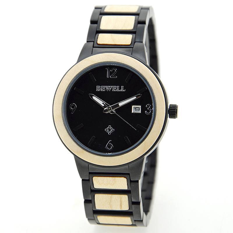 Bewell Stainless Steel Maple Sandalwood Watch