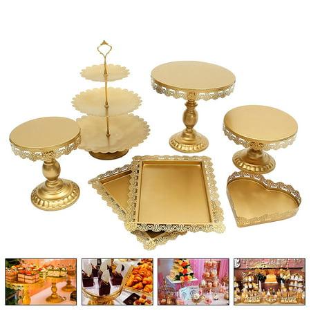 Moaere 7Pcs Vintage Crystal Cake Holder Cupcake Stand Dessert Pedestal Display Plate for Wedding - Crystal Pedestal Cake Stand