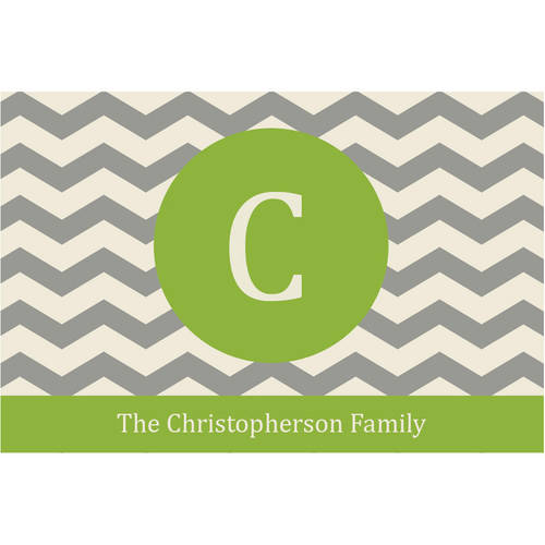 Chevron Family Name Chartreuse Personalized Door Mat