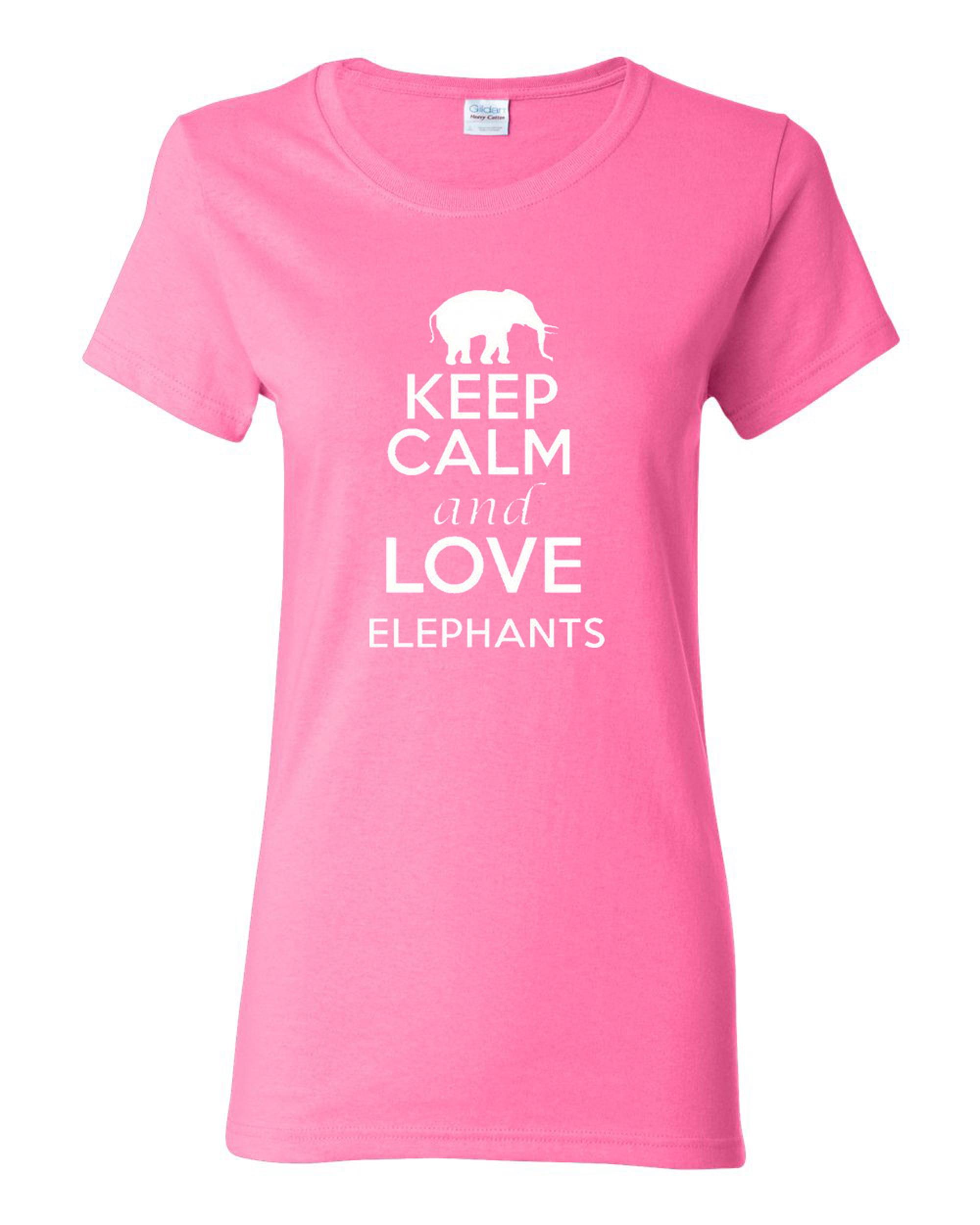 Ladies Keep Calm and Love Elephants T-Shirt Tee