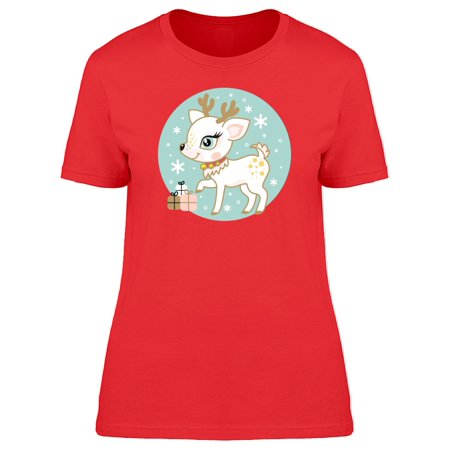 White Christmas Deer Gifts Tee Women's -Image by Shutterstock