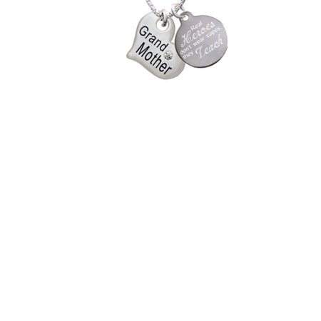 Silvertone Large ''Grandmother'' Heart with Clear Crystal Real Heroes Don't Wear Capes They Teach Engraved Necklace