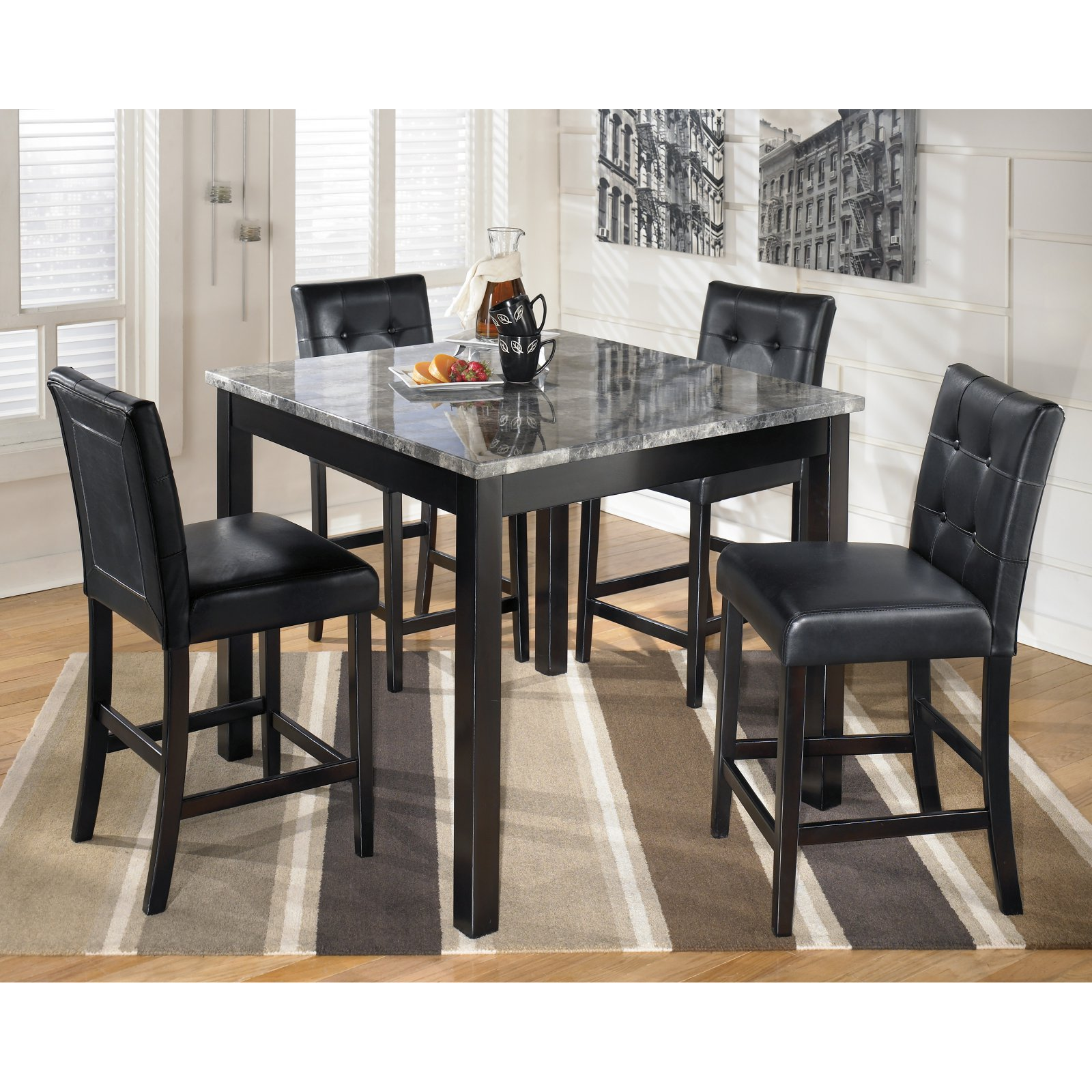 Signature Design by Ashley Furniture Maysville 5-Piece Square Counter Table Set in Black