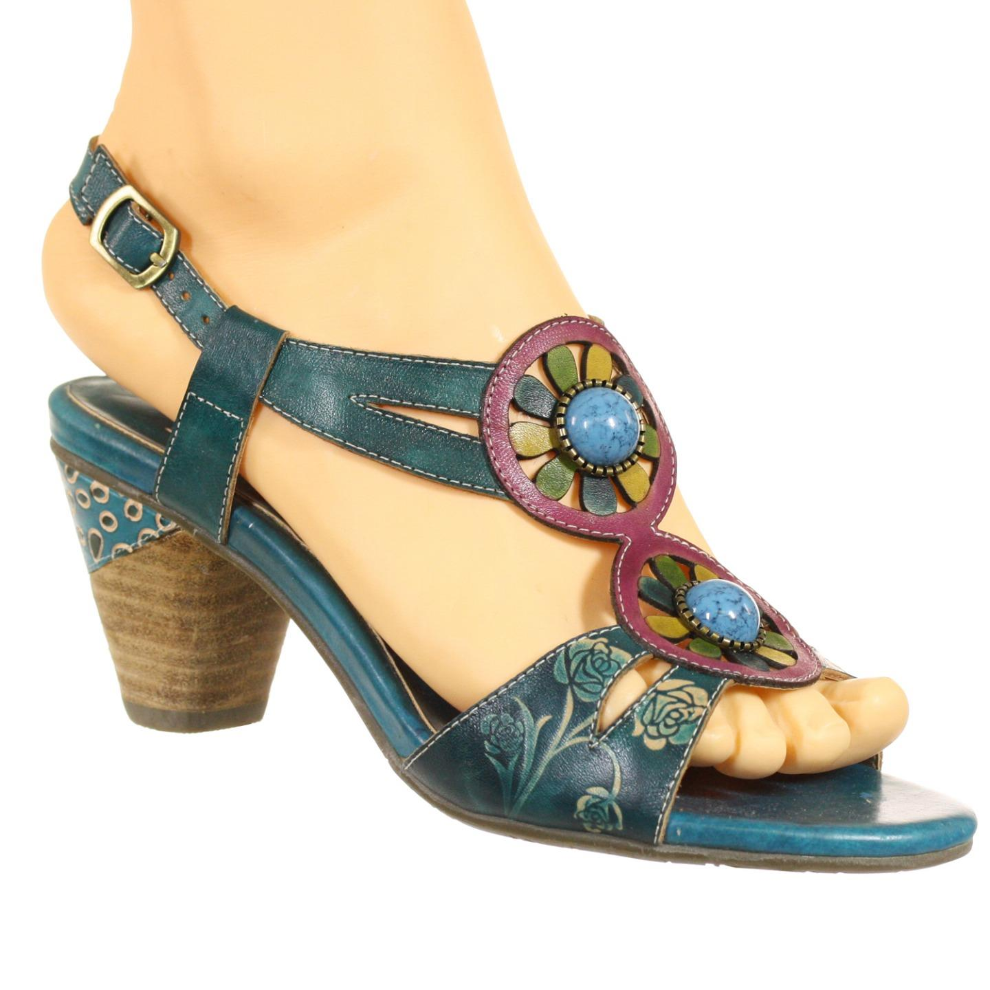 L'Artiste By Spring Step Leonora Women's Sandals Turquoise Multi EU 37 US 7 by Spring Step
