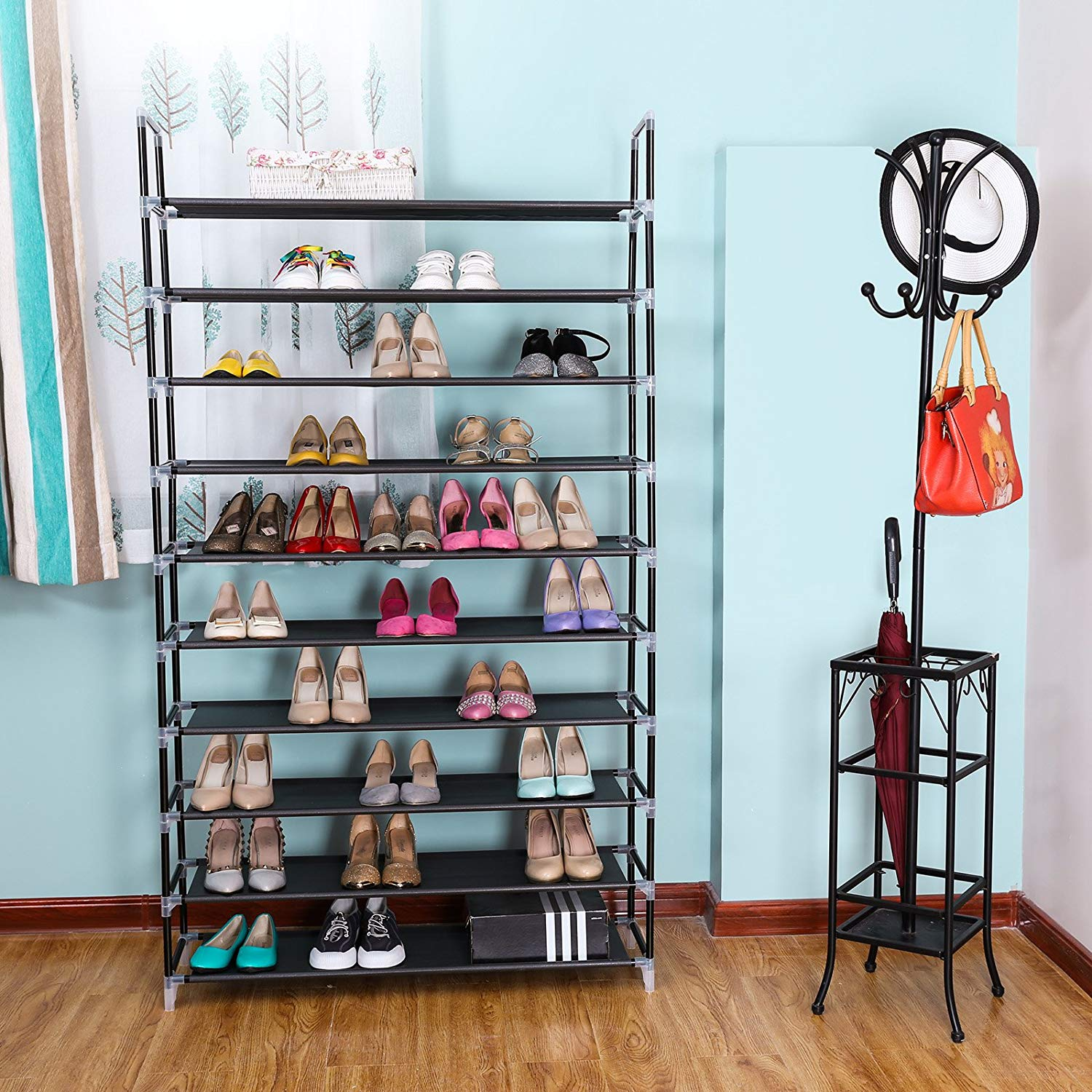 Zimtown 10 Tiers Shoe Rack 50 Pairs Non-woven Fabric Shoe Tower Organizer Cabinet Black
