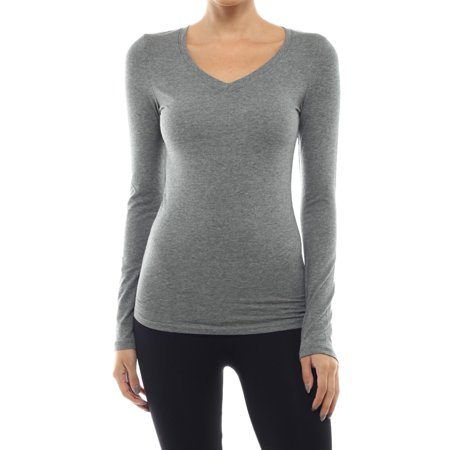 Ola Mari Junior Size Solid Basic V-Neck Long Sleeve Top, Mid Heather Gray, (Junior Small Size)