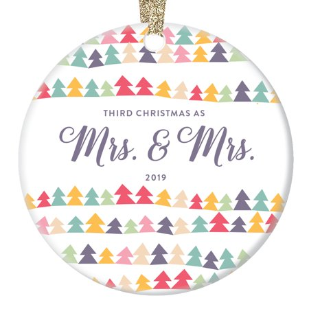 Three Years as Mrs & Mrs Ornament 2019 Gay Pride Decor Gift For Lesbian Wife 3rd Anniversary Present Idea Same-Sex Marriage Keepsake Yearly Dated Rainbow Tree Pattern Ceramic 3