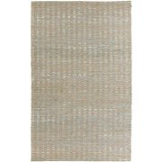 10' x 14' Pleasantly Striped Steel Blue and Ivory Hand Woven Jute Area Throw Rug