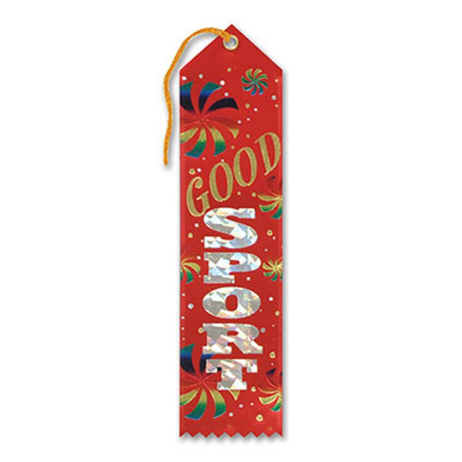 "Pack of 6 Red ""Good Sport Award"" School Award Ribbon Bookmarks 8"""