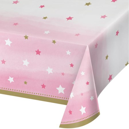 Creative Converting One Little Star - Girl Plastic Tablecover All Over Print, 54