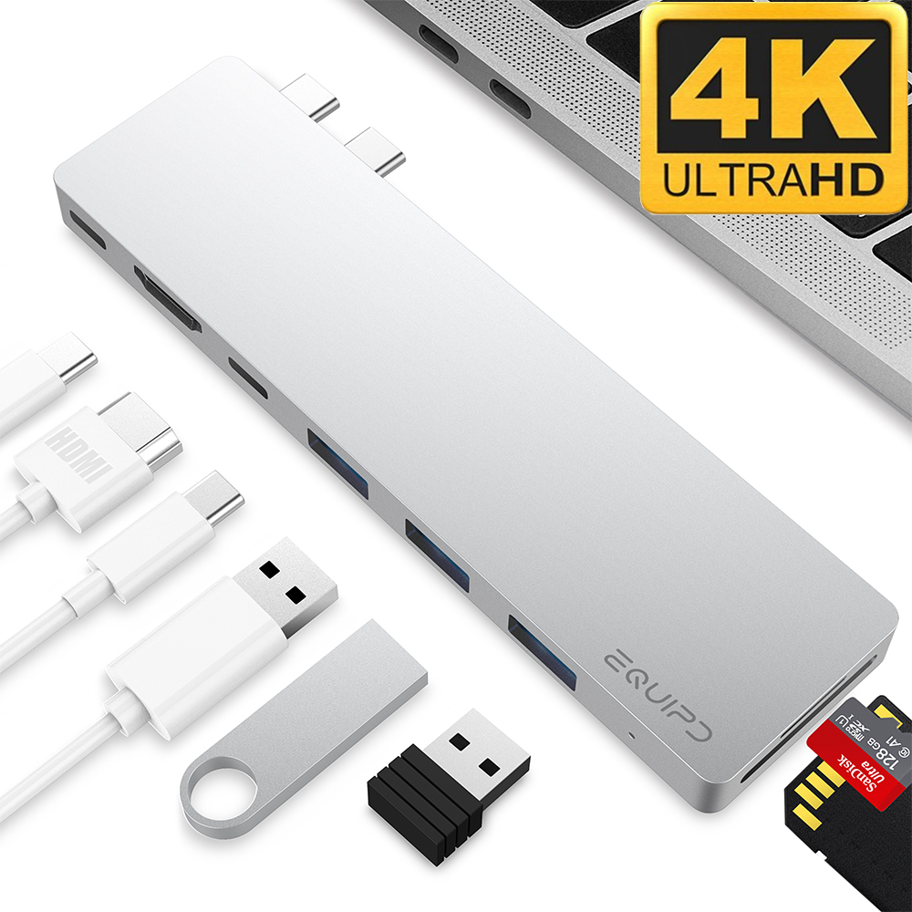 "4K HDMI Combo Hub Adapter for MacBook Pro 13"" & 15"" 2016/2017, EQUIPD Aluminum 8 in 1 USB Type C Charging Port, Thunderbolt 3 port, MicroSD/SDHC/SDXC Card Reader, 3 USB 3.0 Ports - Silver"