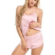 Women Casual Sleepwear Solid Satin Babydoll Pajamas Set Sexy Lingerie Nightwear Ladies Home Dailywear Lounge Wear