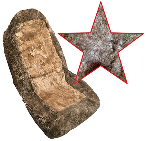 Premium Genuine Sheepskin Auto Seat Covers, Front Car Seats (One Seat Cover, Brown Tan)